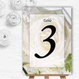 White Rose Personalised Wedding Table Number Name Cards