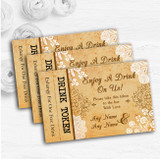 Shabby Chic Rustic Vintage Lace Personalised Wedding Bar Free Drink Tokens