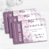Pale Purple Watercolour Floral Personalised Wedding Bar Free Drink Tokens