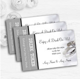 Classy White And Silver Rings Personalised Wedding Bar Free Drink Tokens