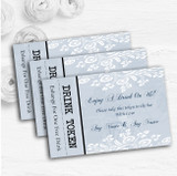 Vintage Lace Pale Blue Chic Personalised Wedding Bar Free Drink Tokens
