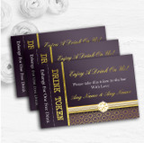 Purple Satin And Gold Personalised Wedding Bar Free Drink Tokens