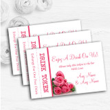 Pink Pretty Roses Personalised Wedding Bar Free Drink Tokens