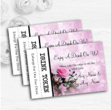 Pink Rose Bubbles Personalised Wedding Bar Free Drink Tokens