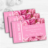Pretty Pink Roses Personalised Wedding Bar Free Drink Tokens