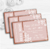 Rustic Blush Lace Personalised Wedding Bar Free Drink Tokens