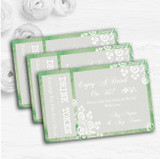 Rustic Green Lace Personalised Wedding Bar Free Drink Tokens