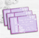 Rustic Lilac Lace Personalised Wedding Bar Free Drink Tokens