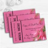 Warm Pink Flowers Personalised Wedding Bar Free Drink Tokens
