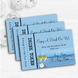 Wine On The Beach Personalised Wedding Bar Free Drink Tokens
