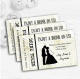 Cream Roses Chic Personalised Wedding Bar Free Drink Tokens