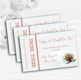 Peach Coral Rose Personalised Wedding Bar Free Drink Tokens
