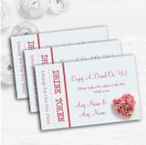 Pink Heart Roses Personalised Wedding Bar Free Drink Tokens