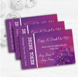 Purple Pink Lily Personalised Wedding Bar Free Drink Tokens
