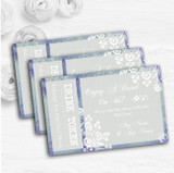 Rustic Blue Lace Personalised Wedding Bar Free Drink Tokens