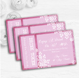 Rustic Pink Lace Personalised Wedding Bar Free Drink Tokens