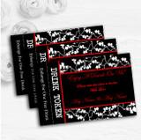 Black White Red Personalised Wedding Bar Free Drink Tokens