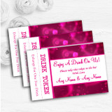 Hot Pink Hearts Personalised Wedding Bar Free Drink Tokens