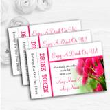 Hot Pink Tulips Personalised Wedding Bar Free Drink Tokens