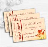 Red Orange Lily Personalised Wedding Bar Free Drink Tokens