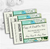 Aqua Turquoise Personalised Wedding Bar Free Drink Tokens