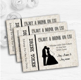 Damask Chic Personalised Wedding Bar Free Drink Tokens
