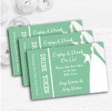 Green Bride Personalised Wedding Bar Free Drink Tokens