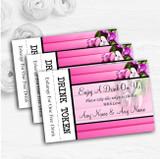Pink Tulips Personalised Wedding Bar Free Drink Tokens