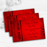 Red Flare Personalised Wedding Bar Free Drink Tokens