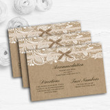 Vintage Aqua Sky Blue Burlap & Lace Personalised Wedding Guest Information Cards