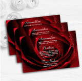 Deep Red Wet Rose Personalised Wedding Guest Information Cards