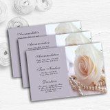 Lilac Rose Pearls Personalised Wedding Guest Information Cards