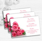 Pink Pretty Roses Personalised Wedding Guest Information Cards