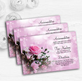 Pink Rose Bubbles Personalised Wedding Guest Information Cards