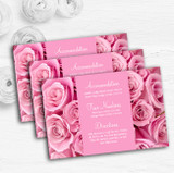 Pretty Pink Roses Personalised Wedding Guest Information Cards