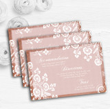 Rustic Blush Lace Personalised Wedding Guest Information Cards