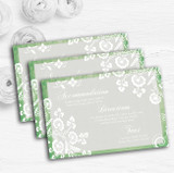 Rustic Green Lace Personalised Wedding Guest Information Cards