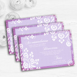 Rustic Lilac Lace Personalised Wedding Guest Information Cards