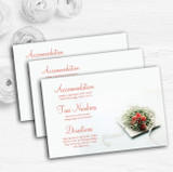 Peach Coral Rose Personalised Wedding Guest Information Cards