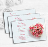 Pink Heart Roses Personalised Wedding Guest Information Cards