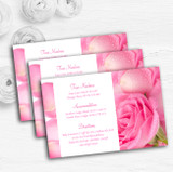 Pink Rose Petals Personalised Wedding Guest Information Cards