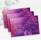 Purple Pink Lily Personalised Wedding Guest Information Cards