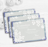 Rustic Blue Lace Personalised Wedding Guest Information Cards