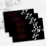 Black White Red Personalised Wedding Guest Information Cards