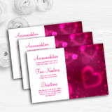 Hot Pink Hearts Personalised Wedding Guest Information Cards
