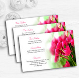 Hot Pink Tulips Personalised Wedding Guest Information Cards