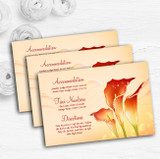 Red Orange Lily Personalised Wedding Guest Information Cards