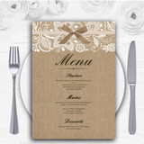 Vintage Burlap & Lace Personalised Wedding Menu Cards