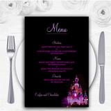 Pink Disney Castle Personalised Wedding Menu Cards