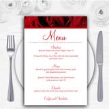 Deep Red Wet Rose Personalised Wedding Menu Cards
